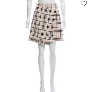 CARVEN Cream Plaid Wool Faux Wrap Mini Skirt